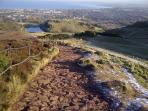 the near by extinct volcanoe of Aurthers Seat gives you an introduction to Scottish hill climbing.