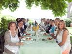 An example of great lunch under the bod wlanut tree of the Villa
