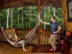 Relax in hammocks and observe the rainforest from your room