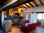 Casa Alma - living room with huge fireplace.
