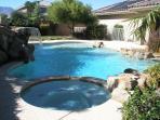 Swimming Pool,  Spa, and waterfall.