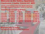 16. Prices for the Gallery Apartment