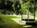 jardín, cama elástica y detrás la piscina