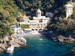 San Fruttuoso. You can reach it by foot departing from the flat or by boat