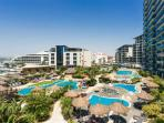 Lush sub-tropical gardens and pools with fingerprint entry for exclusive use by Ocean Village guests