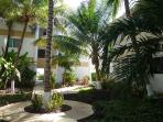 Lush, tropical gardens within the condo complex