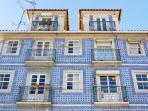 The blue tile building