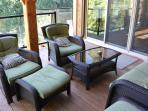 Comfy seating on the covered deck