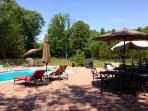 Pool with chaise lounges, umbrellas, tables and chairs, BBQ grill and bar
