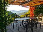 Enjoy alfresco dining with gorgeous views of our valley and mountains beyond