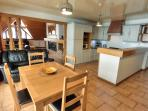 Large kitchen breakfast area with piste views
