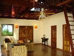 Upper Level Living Room, Teak Floors, Sunrise View, Full Ocean Views