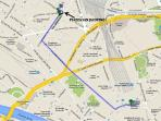 By bus (lines 22, 23, 57) from the train station to my apartment, on foot 1,2km