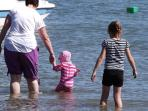 Paddling at Trefor beach