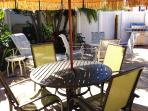 Quality enclosed outdoor seating area for picnics or late night cards...