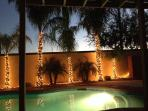 Heated Pool with Classy, Resort-Style Backyard Lighting