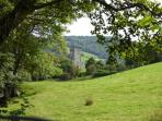 View of Hawkshead Church from Vicarage Lane on the  walk across the fields to Hawkshead village