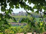The gîte has stunning panoramic views with Duras Château as a focal point