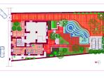 House Floor Plan with Apartment, Garden and Swimming Pool