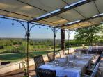 Fiona can provide 4 course evening meals on the chambres d'hôtes terrace by prior arrangement