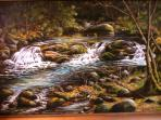 Painting of waterfall upstream.