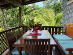 The dining room.. Surrounded by lush tropical nature!