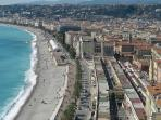 Aerial view of Nice old town, and promenade.