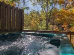 Private Hot Tub located on deck in wooded setting , Soak & watch the Squirrels playing in the trees