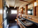 Brand new bathroom with beautiful slate and old wood design,