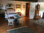 This spacious room, handicapped accessible, has a queen bed and large bathroom.