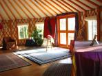 Inside 800 sq ft Yurt facility