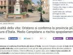 Oristano is the safest province in Italy