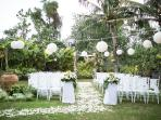 A wedding event hosted in the gardens of our signature 4 bed villa.