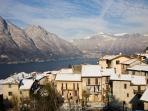 View on the town of Nesso and the Como Lake in winter