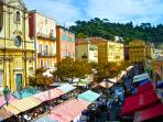 The famous flower and fresh fruit markets on the Cours Saleya - just 1 minute away