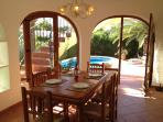 Dining room leading directly to the garden and swimming pool