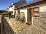 Rear Patio with views of Snowdonia - perfect for a morning coffee