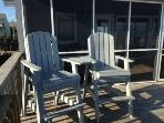 Sun deck with chairs, perfect for watching the sun rise with morning coffee and afternoon drinks