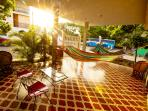 The terrace is the place where you can spent your time on the hammocks.