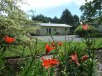 Garden view Fishtail Lodge, country living in stunning Wairau Valley, Marlborough South Island