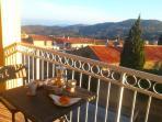 Breakfast on the balcony in winter