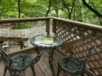 Private deck off the master bedroom overlooking the Ellijay River