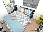 Modern Master bedroom with queen size bed
