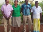 Our staff, Cyril (night security), Rasika (cook), Wasantha (caretaker) & Sarath (gardener)