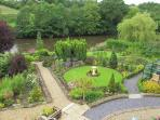 Birds eye view of the gardens and river Towy.
