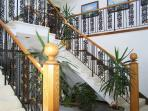 Wrought iron staircases and live plants.