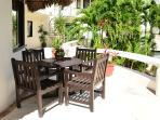 terrace with dining table and chairs