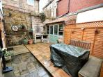 BBQ & Seating Area immediately in front of Gulls Cry & LED Patio lighting & Security Cameras