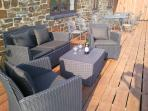 The bar balcony overlooking the orchard is the perfect place to enjoy a glass of wine after fishing.