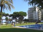 Área común piscina y jardines.